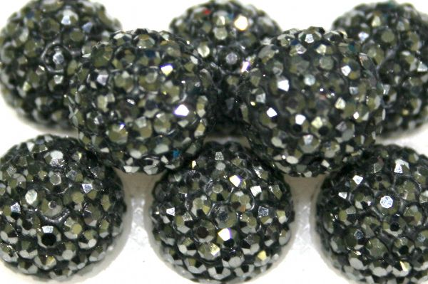 12mm Hematite Grey 130 Stone  Pave Crystal Beads- 2 Hole PCB12-130-002